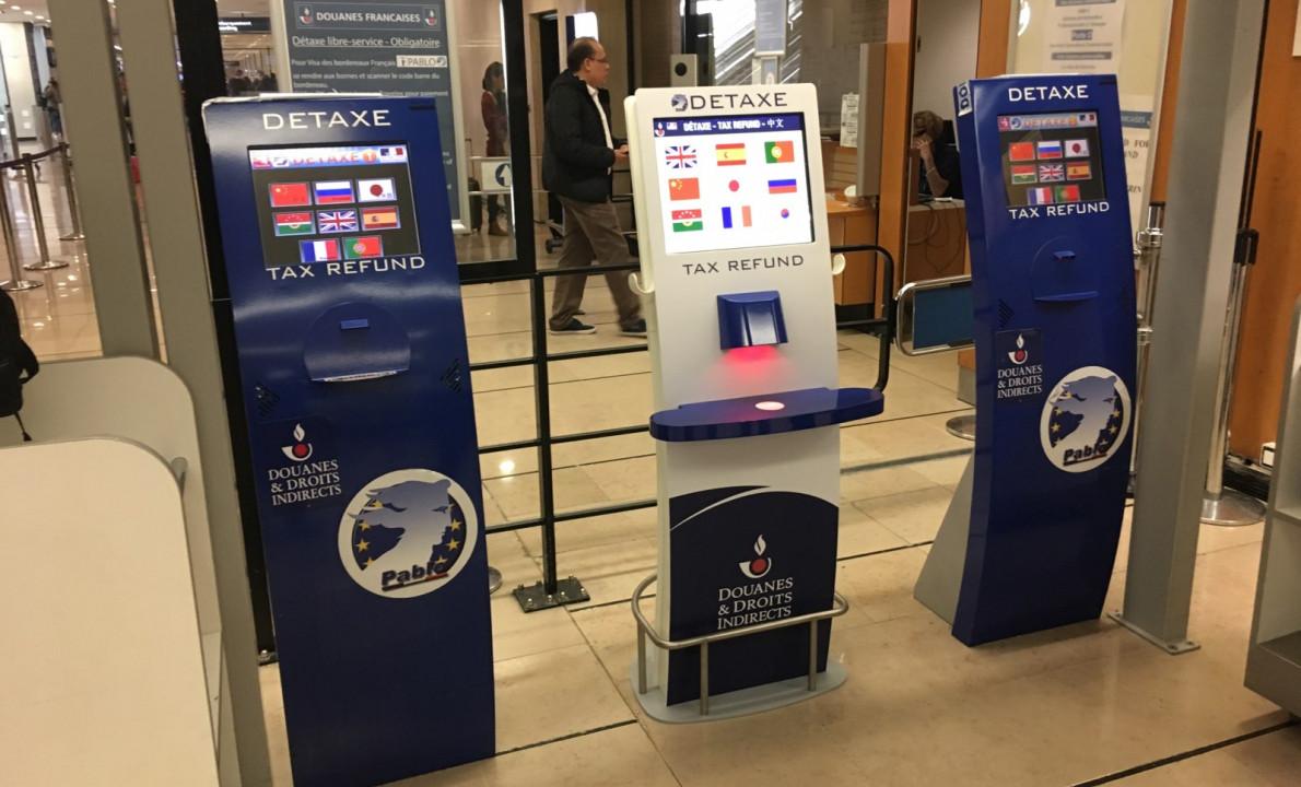 Borne Pablo - pour les Douanes françaises et la détaxe - lecteur de code barre intégré